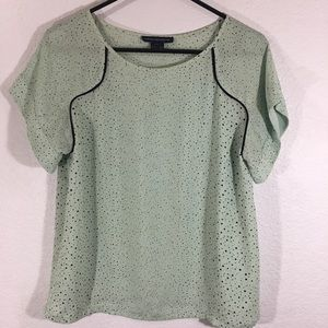 4/$40 French Connection Mint & Black Dotted Top